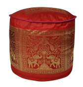 Peacock Elephant Work Design Silk Pouffe Ottoman Cover 17 X 43cm X 30cm
