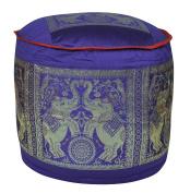 Traditional Handmade Elephant Design Home Décor Silk Ottoman Cover 17 X 43cm X 30cm