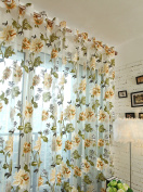 Floral Curtains - All4you 200x98cm Tulle Shielding Window Screen Bedroom Living Room Decorations Panel