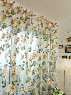 Floral Curtains - All4you 200x98cm Tulle Shielding Window Screen Bedroom Living Room Decorations Panel(Brown)
