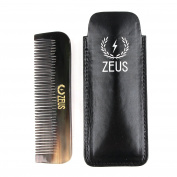 Zeus Natural Horn Medium Tooth Beard Comb in Leather Sheath - Beard Comb for Men