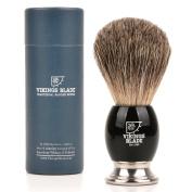 VIKINGS BLADE Luxury Badger Brush, Heavy Swedish Alloy Base + Obsidian Acrylic, 100% Pure Raw Manliness