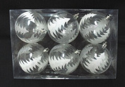 Queens of Christmas WL-ORN-6PK-CLTR Clear Ball Ornament with Silver Glitter Tree, Pack of 12