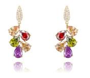 AmDxD Jewellery Gold Plated Women Drop Earrings Rose Gold Multi Colour Leaf Shape 4.1*1.8CM