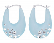 G & H Hand Crafted Blue Lucite Silver Click-Top Drop Hoop Earrings with. Crystals