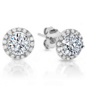 1.60 CT Simulated Diamond Highest Quality Cubic Zirconia CZ ROUND BRILLIANT CUT SOLITAIRE HALO Pave STUD EARRINGS 14K WHITE GOLD Screw Back