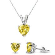 Sterling Silver Simulated Yellow Topaz Heart Necklace and Earrings Set