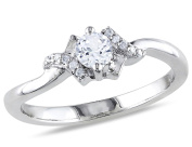 Created White Sapphire 1/3 Carat (ctw) Promise Ring with Diamonds in Sterling Silver