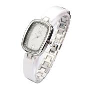 GEORGE SMITH Lady's Waterproof Silver Tone Rhinestone Ceramic Bracelet Wrist Watch for Women Girlfriend