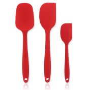 3-Piece Rubber Spatula Set with Wide Handle, Silicone Head Heat Safe Nonstick