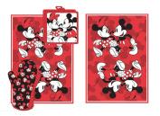 Disney Mickey Minnie Stroll Red Kitchen Towel Set [4-Piece Set]