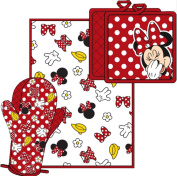 Disney Minnie Bow Shoe Glove Flower Parts Kitchen Towel Set [3-Piece Set]
