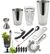 Tiger Chef 15-Piece Professional Stainless Steel Boston Shaker Home Bar Set and Cocktail Making Set - Includes Bar Tools with 470ml Mixing Glass with Imprinted Recipes