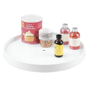 mDesign Lazy Susan Turntable Spice Organiser Rack for Kitchen Pantry, Cabinet, Countertops - 36cm , White