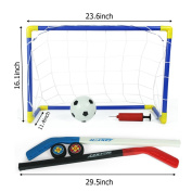 2 in 1 Outdoor/Indoor Kids Sports Soccer & Ice Hockey Goals with Balls and Pump Practise Scrimmage Game Football Toy Set