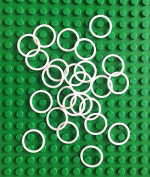 LEGO Technic NEW 25 pcs SMALL WHITE RUBBER BAND BELT PACK Tiny Little Elastic Round Cross Section