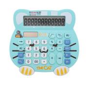 Loghot Adorable Creative 12 Digits Solar Dual Power Cartoon Cat Shape LCD Display Desktop Calculator with Big Screen Water Blue
