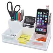 Victor Pure White Collection Wood Desk Organiser with Smart Phone Holder - White