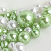Wholesale Elegant Vase Fillers - Approx 42 Assorted Oversized Faux Pearls in Apple Green and White Beads - Unique Decorative Gems