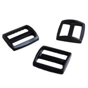 "10pcs 1-1/2""(38mm) Webbing Plastic Black Slider Tri Glide Adjust Buckles Wider Style Backpack Straps FLC060-B4"