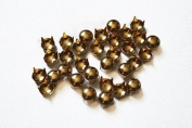 Trimming Shop 100 Pieces Round Nail Head Studs Gold Hand Pressed 5mm Rivets Suitable For Leather Crafting Decorating Clothes Jackets Belts