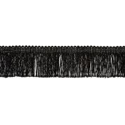 5.1cm Metallic Chainette Fringe Trim Black Fabric By The Yard