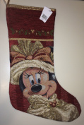 Disney Park Minnie Mouse Tapestry Victorian Christmas Holiday Stocking NEW