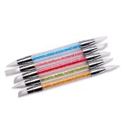 Gotd 5pc Nail Art Dotting Paint Pen Rhinestone Strap For Nail Salon Decorating Tool