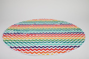 Kenley Baby Splat Mat For Under High Chair - Waterproof Washable Feeding Highchair Food Splash Spill Mats - Large Floor Table Protector Cover - Bright Chevron