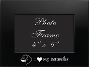 4x6 Brushed Metal Picture Frame-I love my Rottweiler-Black