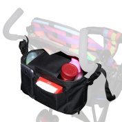 ACRATO Stroller Organiser Bag Universal Nappy Bag with Net Pockets Drink Holders Insulated Cup Holders Durable for Parents and Babies