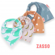 Zasso Baby Bandana Bibs - 4 Pack Burp Cloths Gift Set for Boy & Girl - Best for Drooling, Teething, and Feeding
