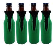 Beer Bottle Koozies Collapsible Green Coolers Zipper Wetsuit Drink Holder