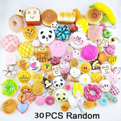 Random 30pcs Jumbo Medium Mini Soft Squishy Cake/Panda/Bread/Buns Phone Straps by Huastyle