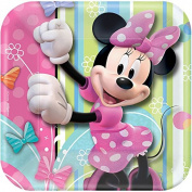 Disney Minnie Dessert Plates Birthday Party Disposable Tableware and Dishware (8 Pack), Multi Colour, 18cm x 18cm .