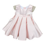 Petite Adele Baby Girls Blush Dull Satin Beaded Flower Girl Dress 6-24M