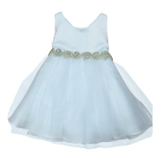 Petite Adele Baby Girls White Satin Tulle Rhinestone Flower Girl Dress 6-24M