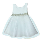 Petite Adele Baby Girls Ivory Satin Tulle Rhinestone Flower Girl Dress 6-24M