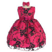 Baby Girls Fuchsia Floral Mesh Embroidery Special Occasion Dress 6-24M