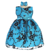 Baby Girls Turquoise Floral Mesh Embroidery Special Occasion Dress 6-24M