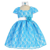 Baby Girls Turquoise Floral Floral Lace Overlay Sash Special Occasion Dress 6-24M