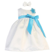 Baby Girls White Turquoise Sash Dull Satin Flower Girl Headband Dress 6-24M