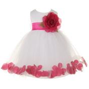 Baby Girls White Fuchsia Petal Adorned Satin Tulle Flower Girl Dress 6-24M
