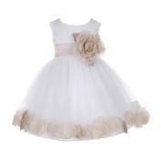 Baby Girls White Champagne Petal Adorned Satin Tulle Flower Girl Dress 6-24M