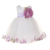 Baby Girls White Lilac Petal Adorned Satin Tulle Flower Girl Dress 6-24M