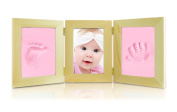 Triple Baby Creative Wooden Photo Frame My First Year Touch Hand and Foot Print Frame Casting Impression Kit Keepsake for Baby Birthday/Christenings/Parents Gift on Mother's Days/Father's Day