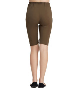 Liang Rou Maternity Belly Support Mini-Ribbed Ultra-Thin Stretch Short Leggings