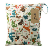 iZiv(TM) Baby Waterproof Reusable Wet and Dry Baby Nappy Bag Organiser Pouch Double Zipper Printing Nappy Bag
