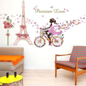 Winhappyhome Bicycle Girl Romantic Butterflies Wall Art Stickers for Living Room Coffee Shop Canteen Door Background Removable Decor Decals
