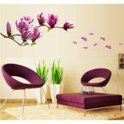 Purple Flowers Branch Wall Sticker House Decal Removable Living Room Wallpaper Bedroom Kitchen Art Picture PVC Murals Sticks Window Door Decoration + 3D Frog Car Sticker Gift